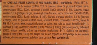 Cake aux fruits - Ingredients