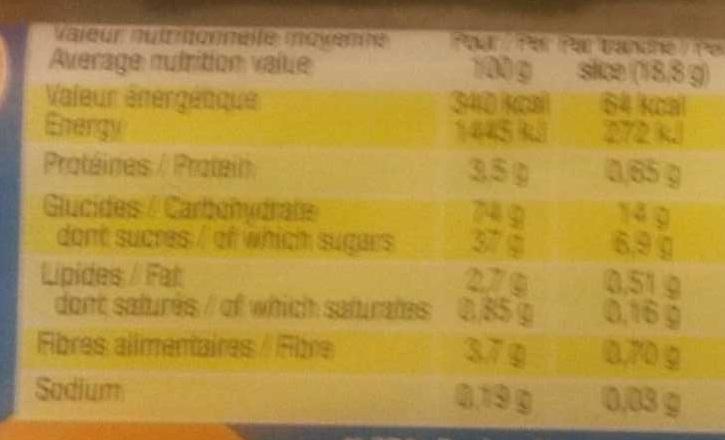 Prosper au lait - Informations nutritionnelles - fr
