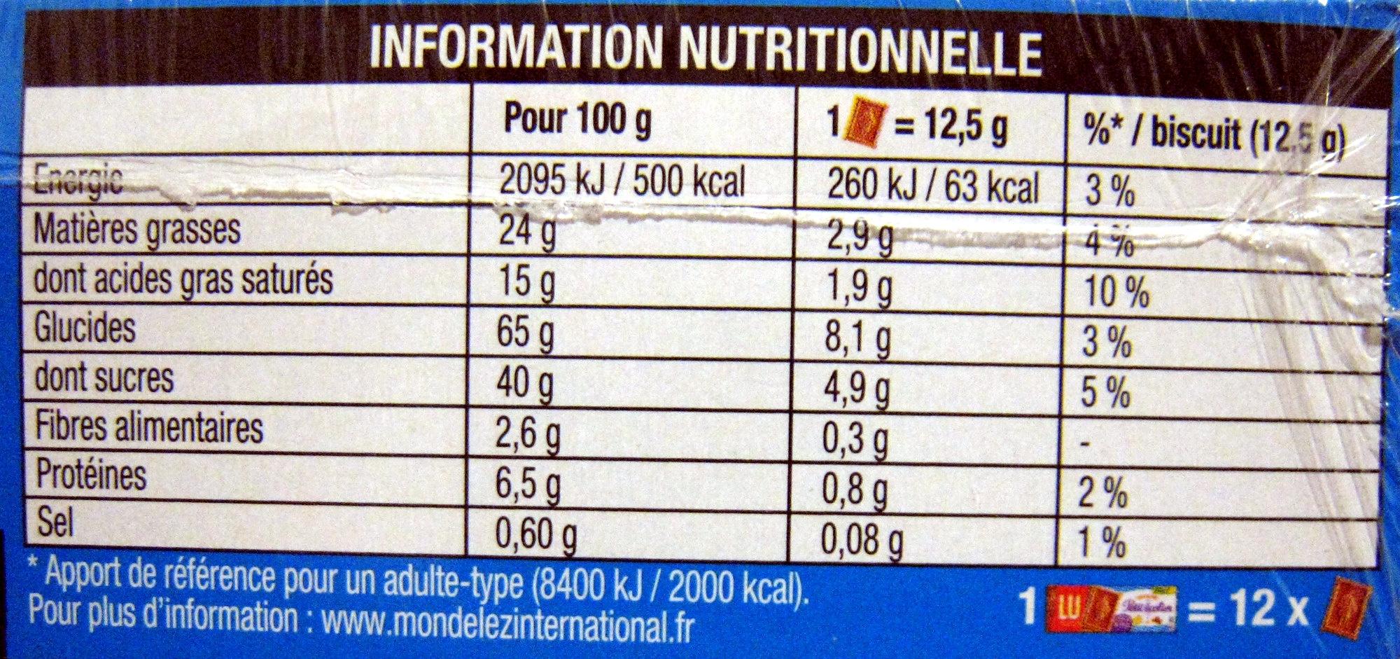 Véritable Petit écolier Chocolat au lait (lot de 4 x 150 g) LU - Informations nutritionnelles - fr