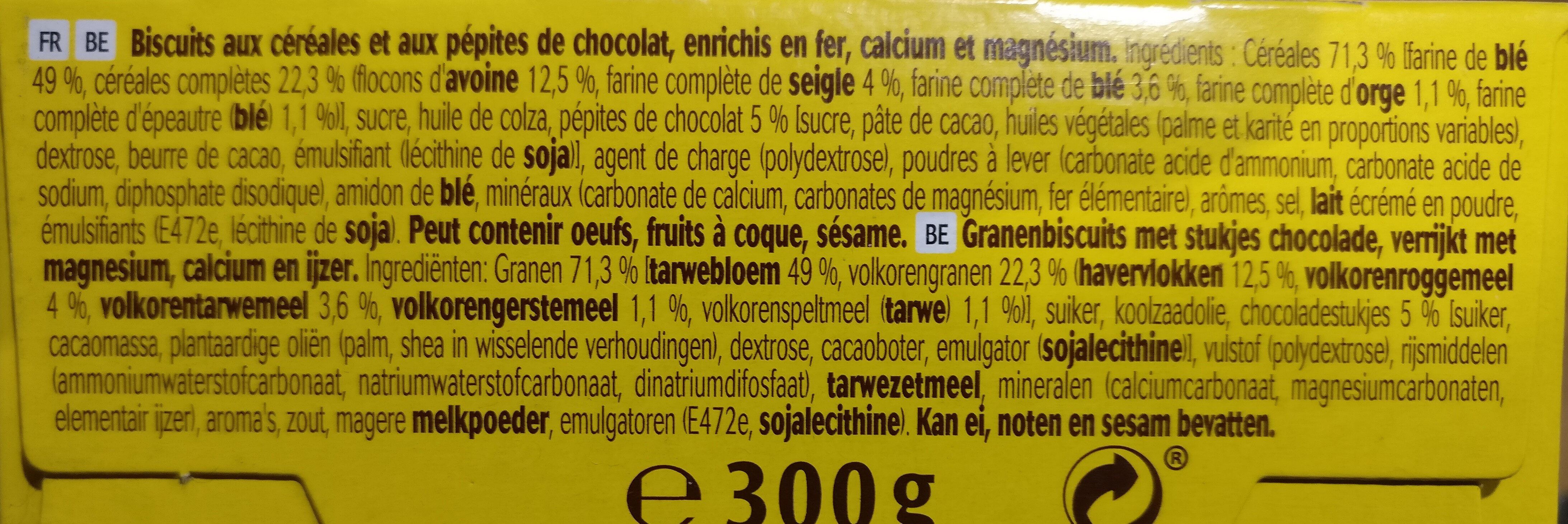 Belvita petit déjeuner original pépites chocolat - Ingredients - fr