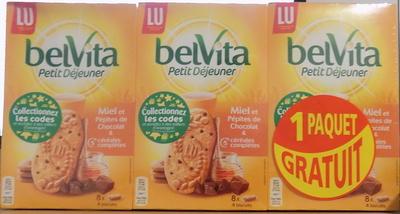 belVita Petit Déjeuner Miel et Pépites de Chocolat & 5 céréales complètes - Produit - fr