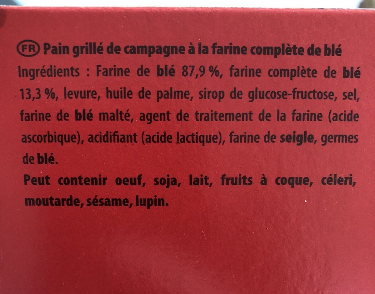 Le Pain Grillé Pelletier blé complet - Ingredients - fr