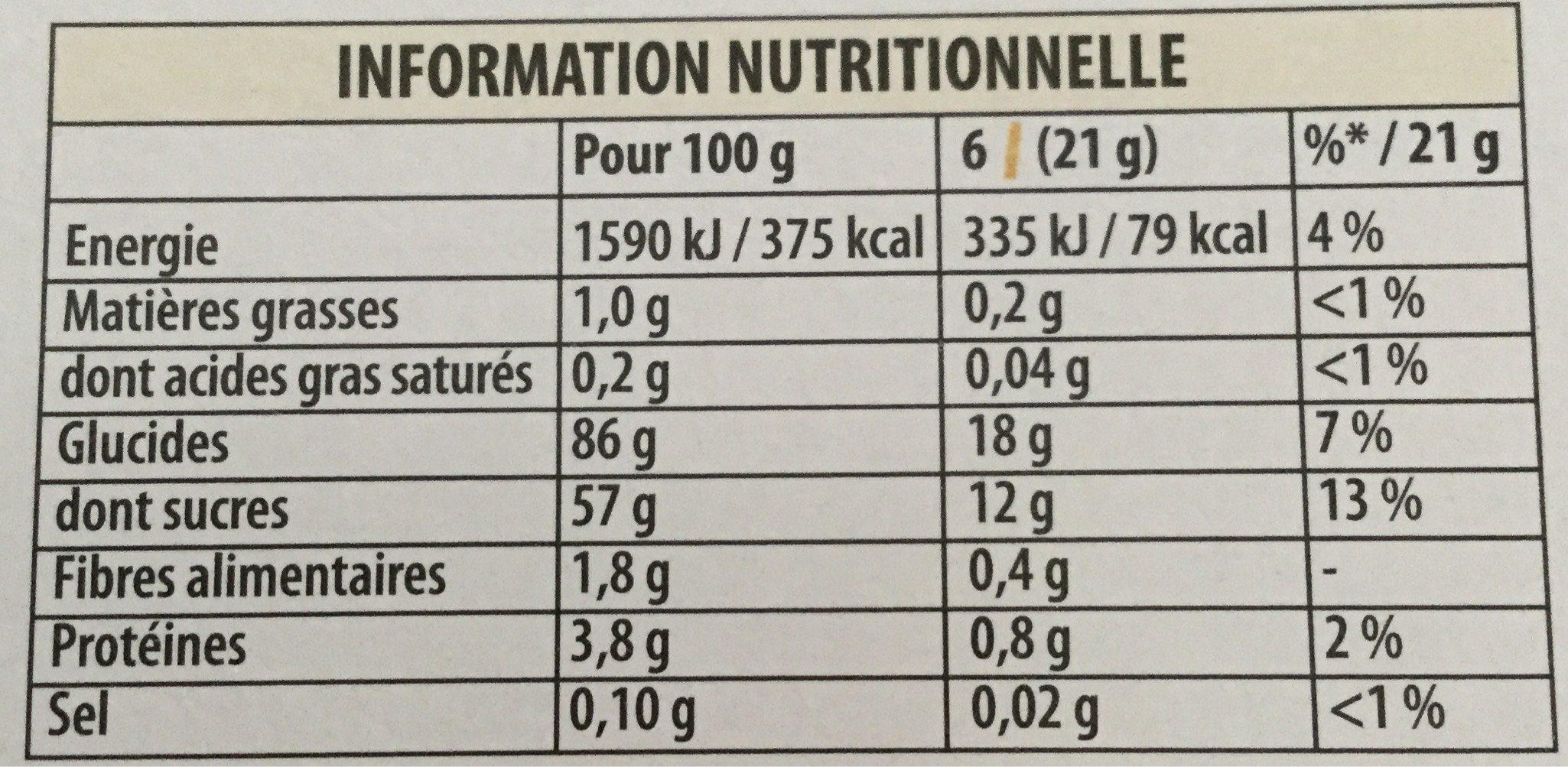 La Paille d'or  Fraises/Fraises des bois - Informations nutritionnelles - fr