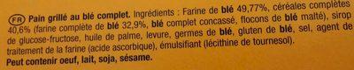 La Tartine Blé Complet - Ingredients - fr