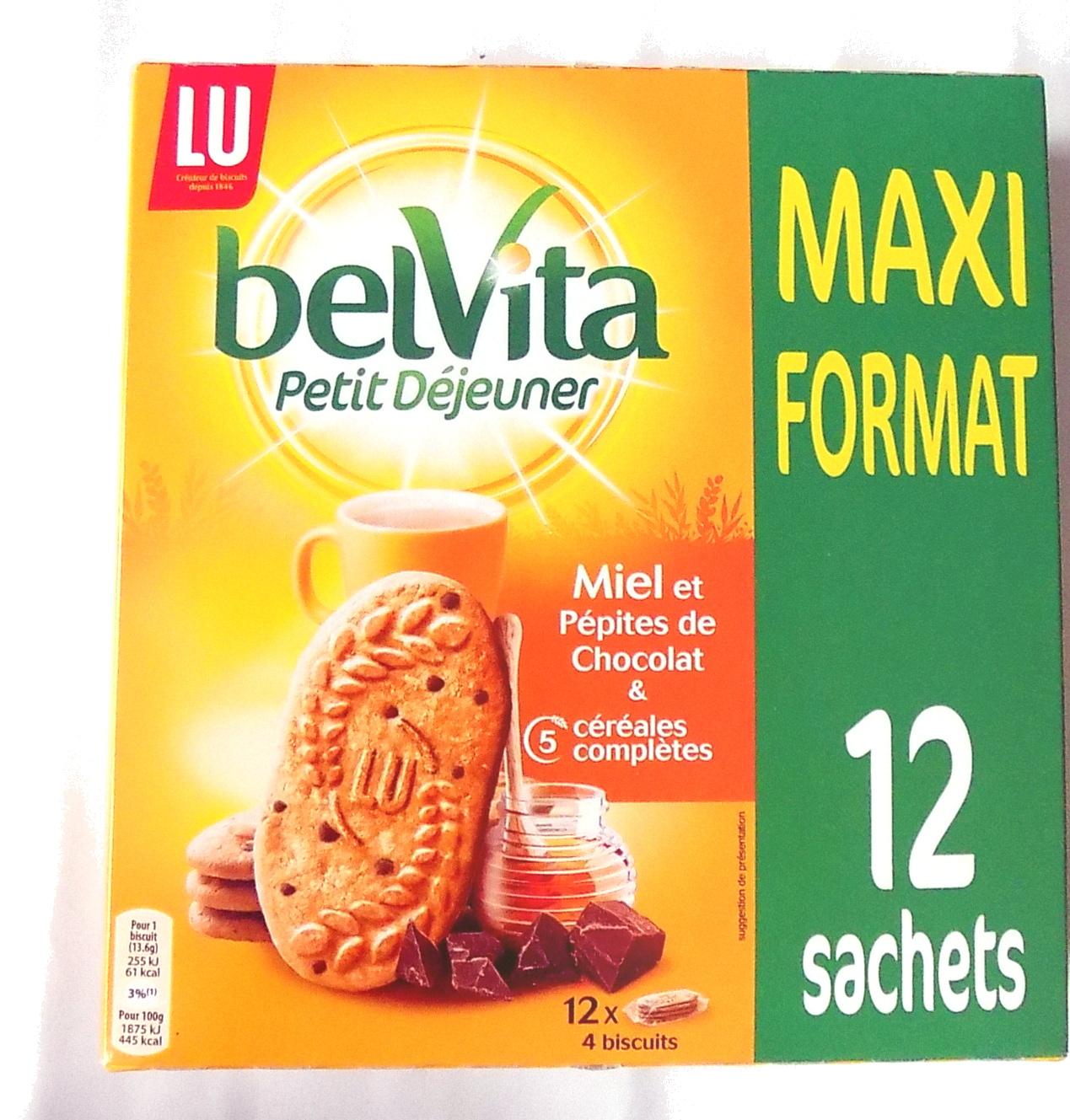 BelVita Petit Déjeuner Miel et Pépites de Chocolat & 5 céréales complètes - Product