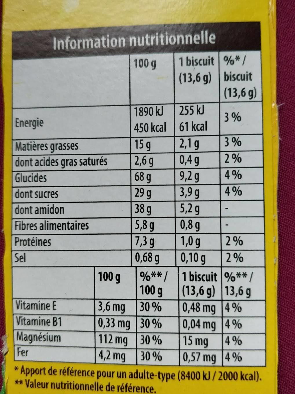 BelVita Petit Déjeuner Miel et Pépites de Chocolat & 5 céréales complètes - Nutrition facts