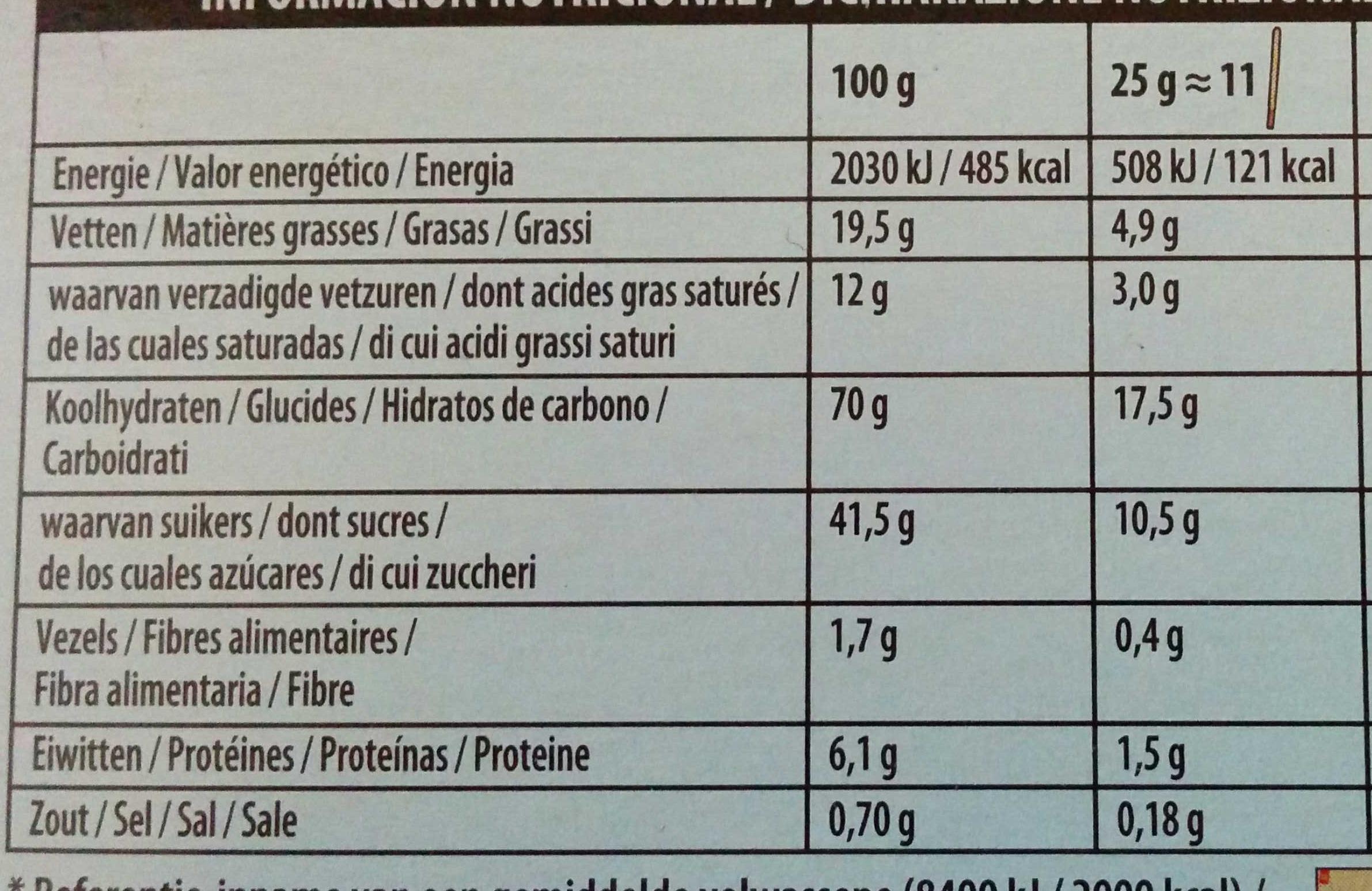Mikado chocolat blanc - Voedingswaarden - fr