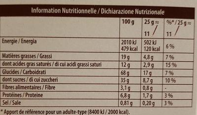 Mikado chocolat au lait - Información nutricional - fr