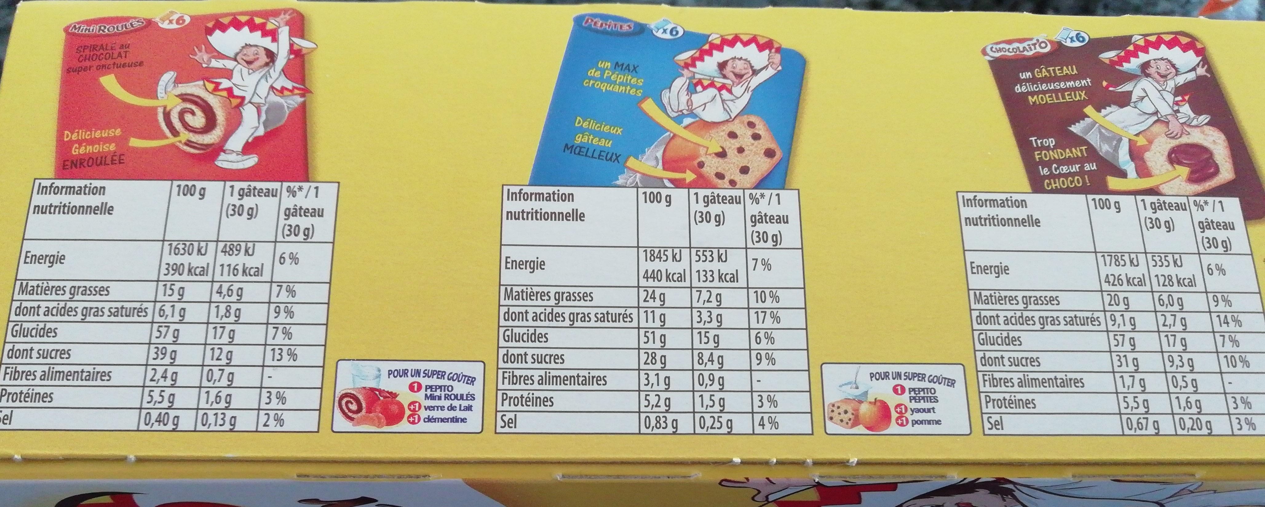 Pépito la boîte à goûter - Informations nutritionnelles