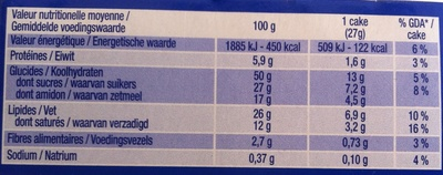 Prince cake&choc - Nutrition facts