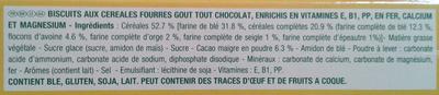 Belvita Petit Déjeuner Coeur Fondant Goût Tout Chocolat & 5 Céréales Complètes - Ingrédients - fr