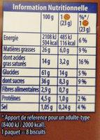 Granola L'original Gros éclats de chocolat - Informations nutritionnelles