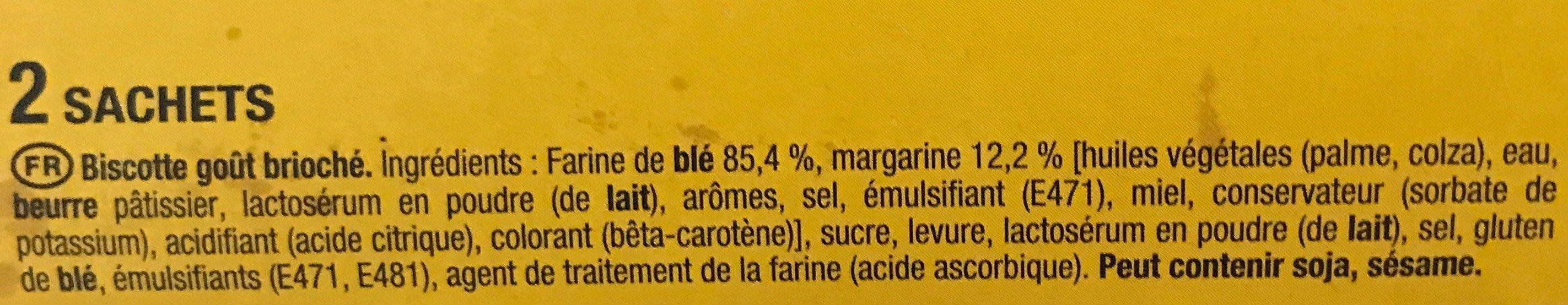 Heudebert La Biscotte Goût Brioché - Ingredients - fr