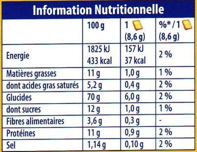 Heudebert La Biscotte Goût Brioché - Nutrition facts - fr