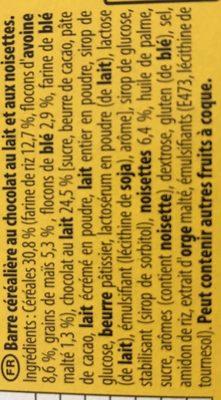 Grany chocolat au lait noisettes - Ingrédients