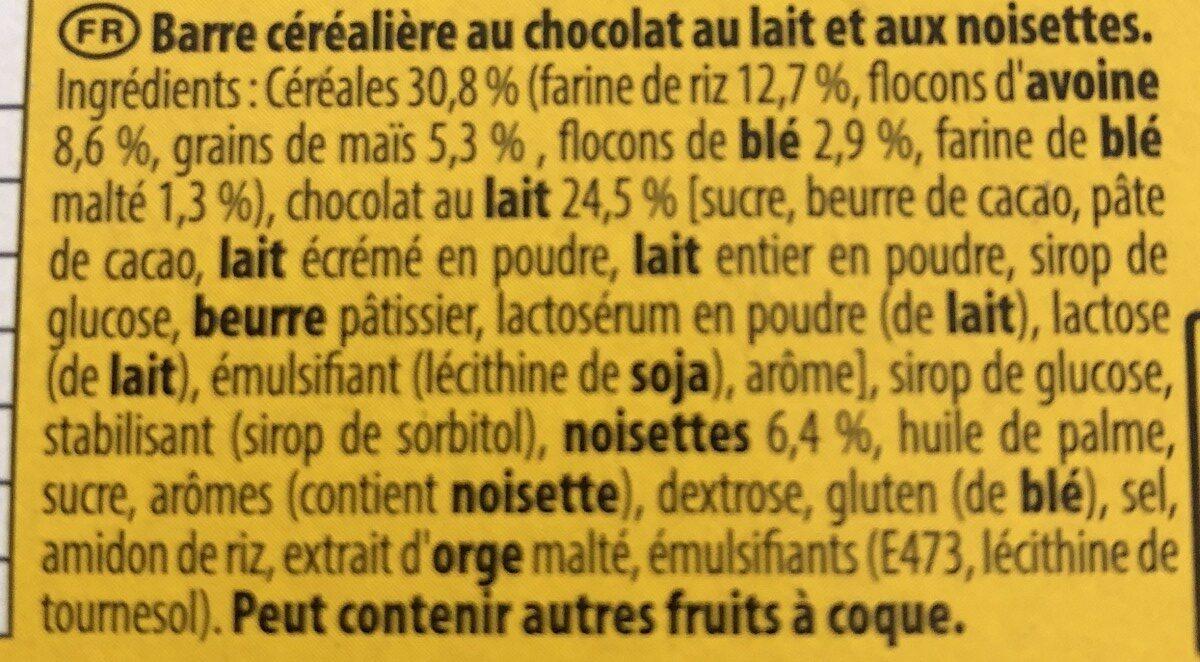 Grany chocolat au lait noisettes - Ingrédients - fr
