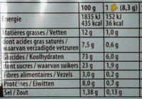 Véritable Petit Beurre - Voedingswaarden - fr