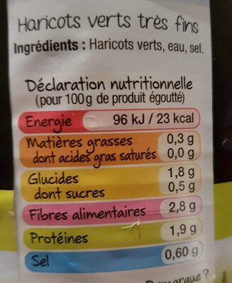 Haricots Verts Très Fins - Nutrition facts - fr