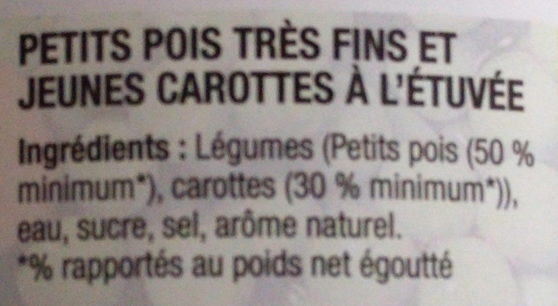 Petits pois et jeunes carottes très fins - Ingrédients - fr