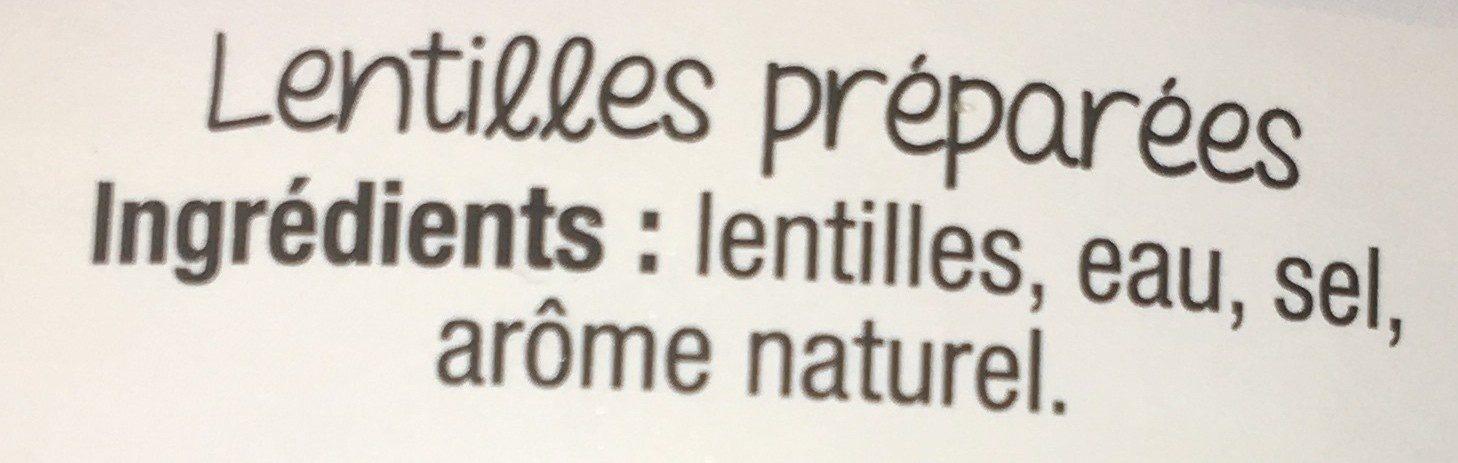 Lentilles - 成分 - fr
