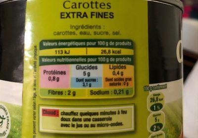 Carottes extra fines Daucy - Informations nutritionnelles - fr
