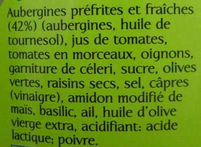 Caponata d'Aubergines (cuisinée à la Sicilienne) - Ingredients - fr