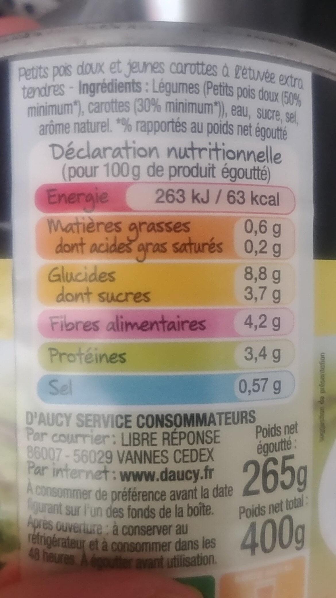 Petits Pois Extra-tendres Et Carottes D'aucy - Informations nutritionnelles - fr