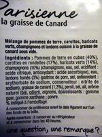 Poêlée Parisienne à la graisse de canard - Ingrediënten - fr
