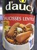 Saucisses lentilles - Product