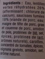 Saucisses lentilles - Ingredients