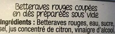 Betteraves Rouges en Dés - Ingrédients - fr