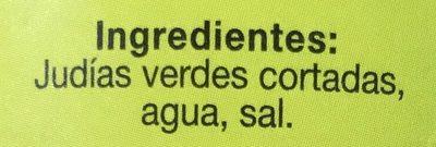 Judías verdes cortadas - Ingredientes