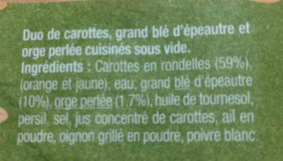 Legumes & cereales duo de carottes épeautre et orge - Ingredients