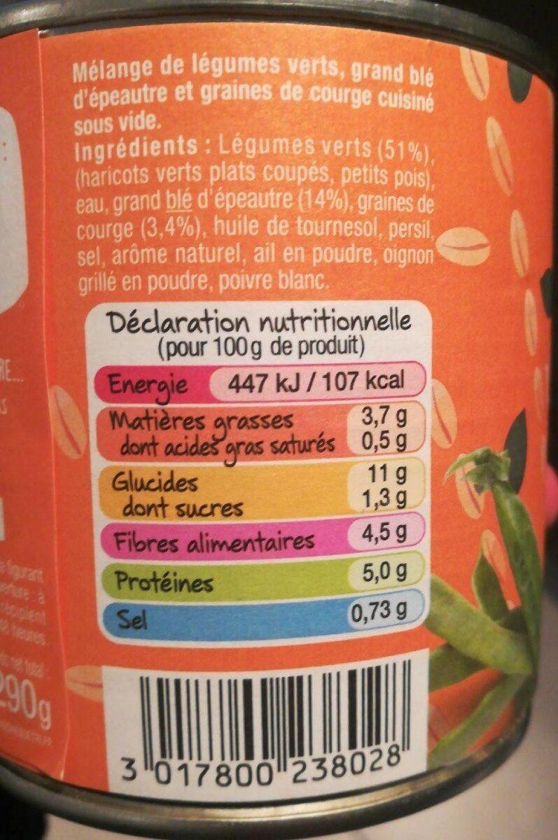 Légumes verts épeautre & graines de courge - Nutrition facts - fr