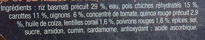 Dahl de pois chiches & lentilles corail riz & quinoa - Ingrédients - fr