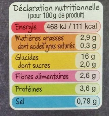 Dahl de pois chiches & lentilles corail riz & quinoa - Informations nutritionnelles - fr