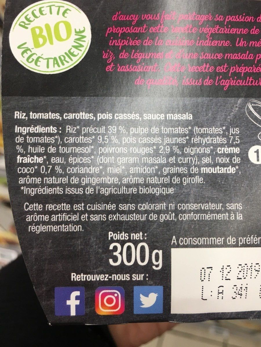 Masala de légumes riz coco - Ingrédients - fr