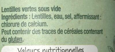 La lentille verte - Ingrediënten