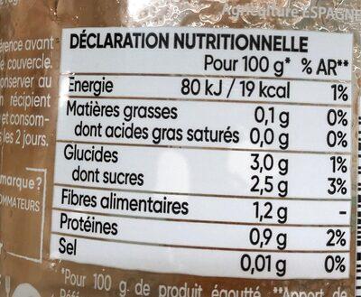 Tomates entières pelées, de plein champ - Informations nutritionnelles