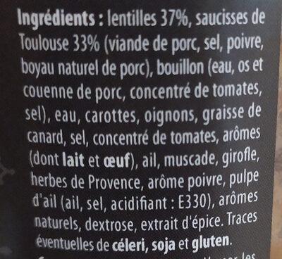 Saucisses de Toulouse aux Lentilles - Ingrediënten