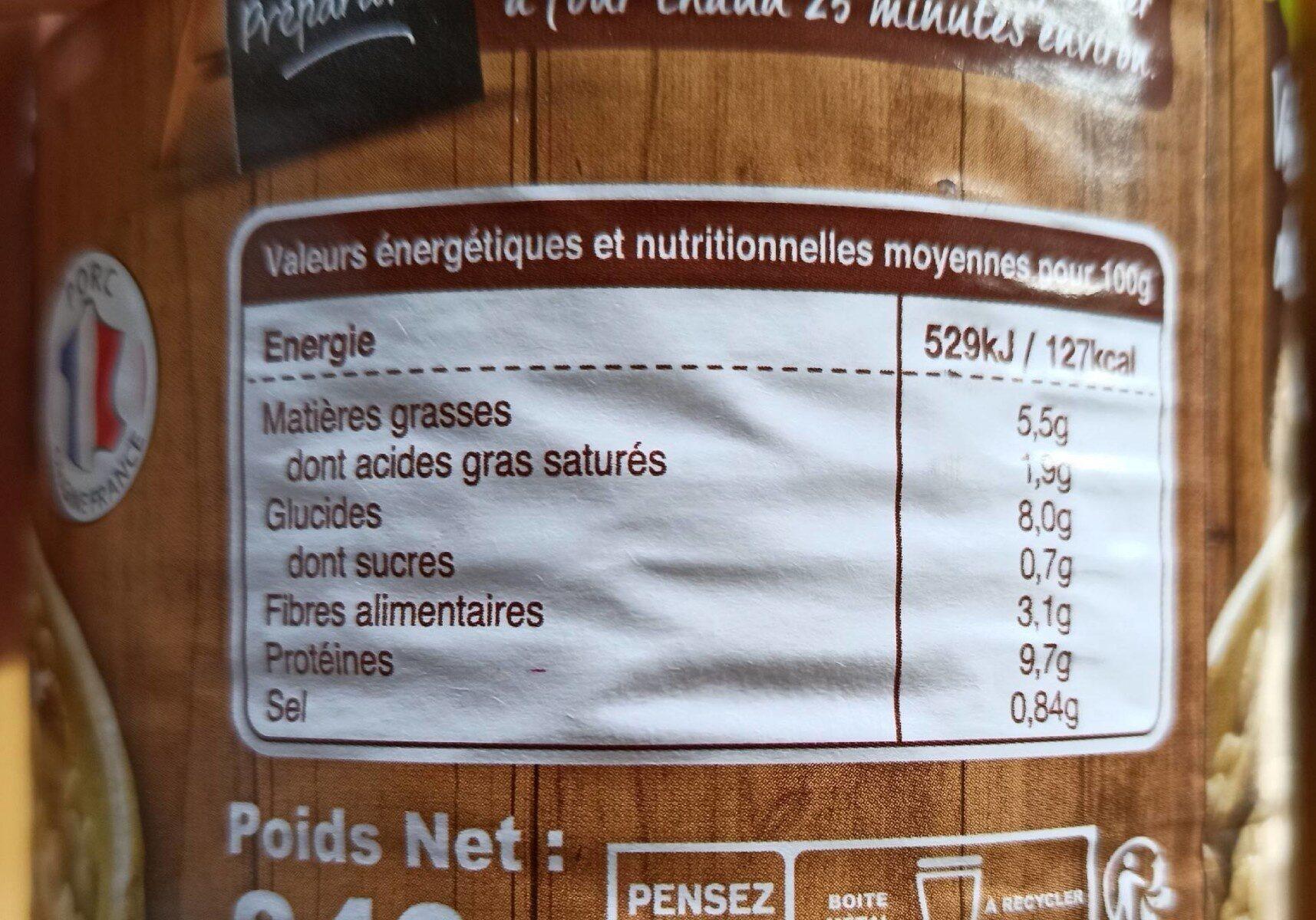 Véritable cassoulet de Castelnaudary - Informations nutritionnelles - fr