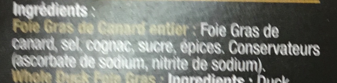 Foie gras de canard entiet - Ingrediënten - fr