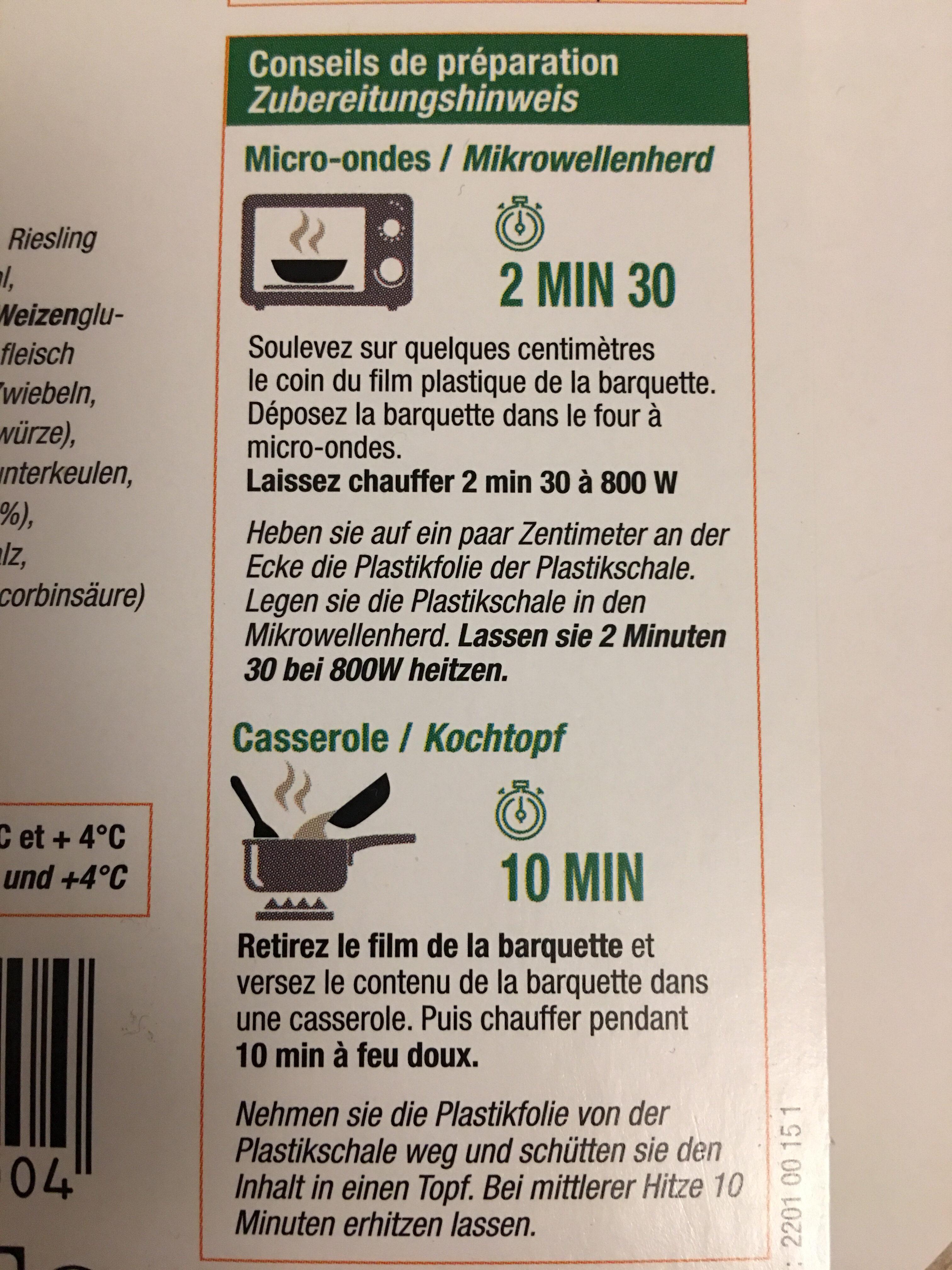 Blanquette de volaille - Istruzioni per il riciclaggio e/o informazioni sull'imballaggio - fr
