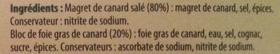 Délice de Magret de Canard Farci au Bloc de Foie Gras de Canard - Ingrédients - fr