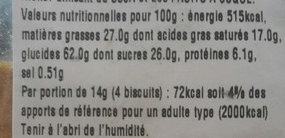 Petits coeurs - Informations nutritionnelles