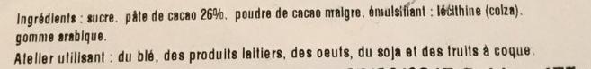 Paillettes chocolat noir - Ingredients - fr