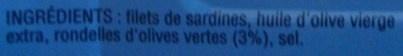 Filets de Sardines (à l'Huile d'Olive Vierge Extra) - Ingrediënten - fr