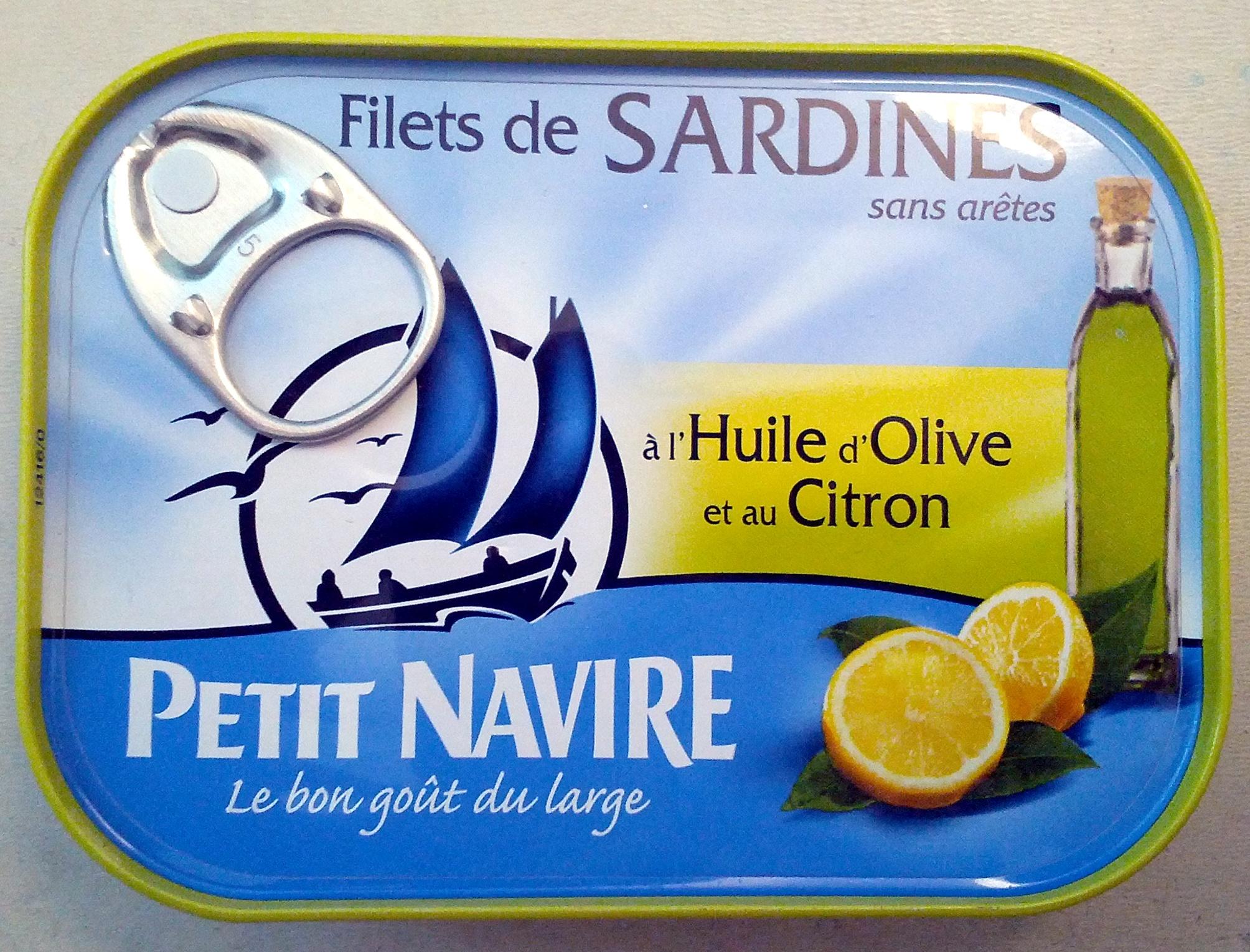 Filets de sardines l 39 huile d 39 olive et au citron petit navire 95 g 66 5 g de poisson - Conserve de sardines maison ...
