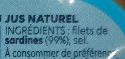Filets de Sardines (Nature) - Ingrédients - fr