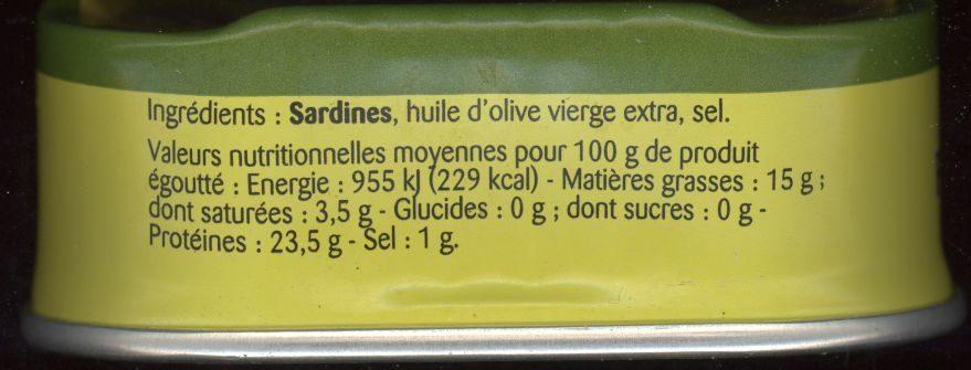 Sardines à l'huile d'olive vierge extra - Ingrédients